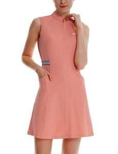 BALEAF Women's Golf Tennis Dress Sleeveless 4-Pockets with Inner Shorts